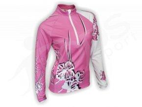 Cyklistický termodres dámský FLOWERS - růžový